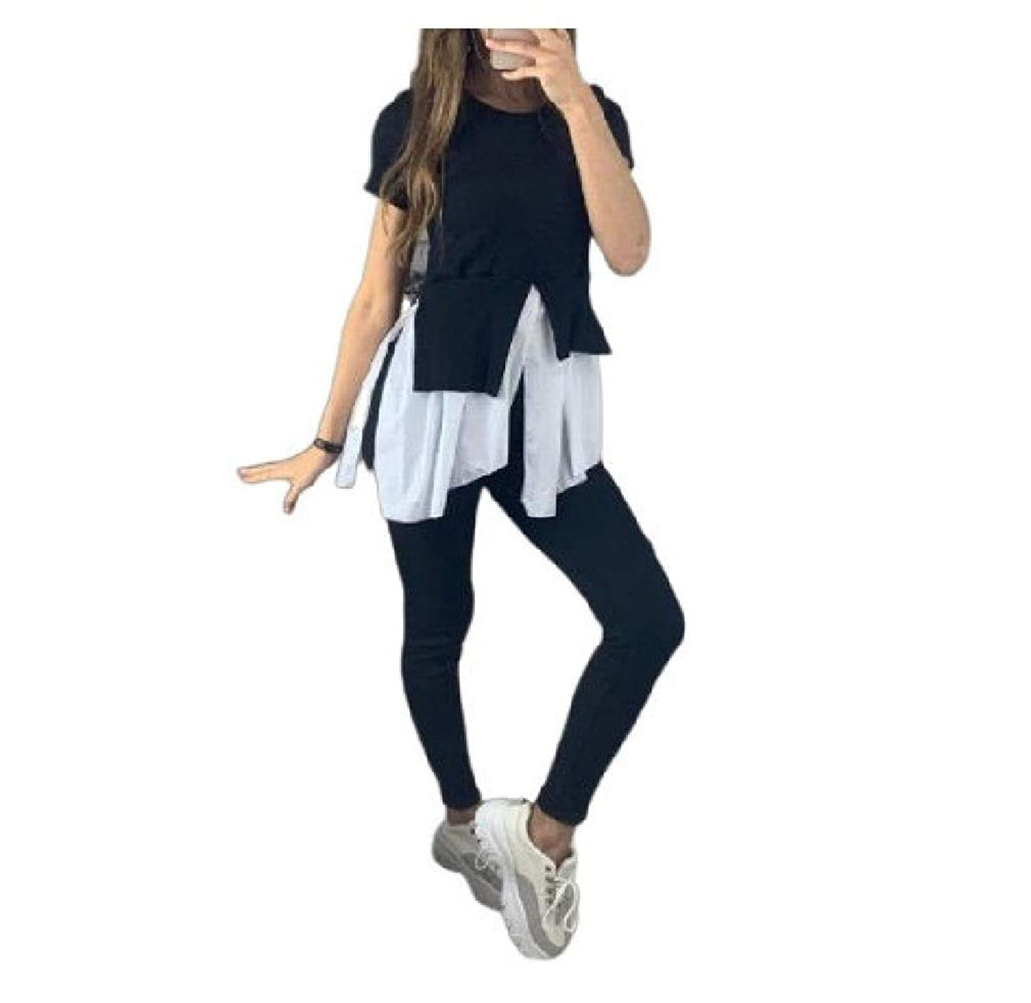 バックキャッシュ生産性Womens Short Sleeve Irregular Stitching Vogue 2-Piece Tracksuit Jog Set