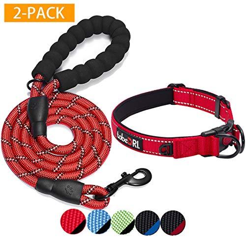 TobeDRI Hundehalsband, gepolstert, mit weichem Neopren, reflektierend, verstellbar, für große, mittelgroße und kleine Hunde, 2 Stück, Collar+Leash M-Neck 16.5'' - 20'', Rot/Schwarz, 2 Stück