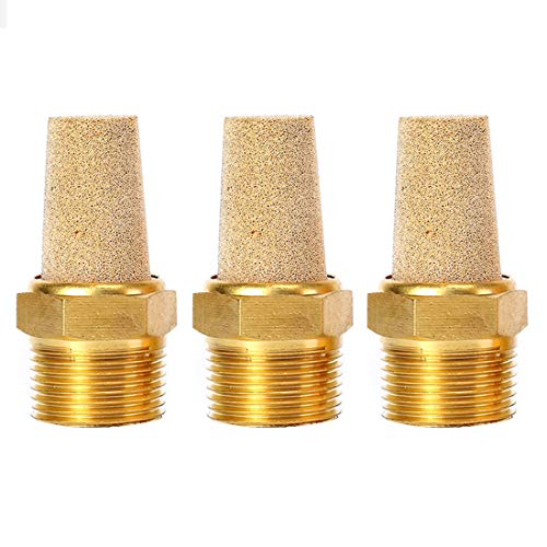 Quickun Air Pneumatic Mufflers, 1/4' Male Thread Sintered Bronze Exhaust Muffler Silencer (Pack of 3)