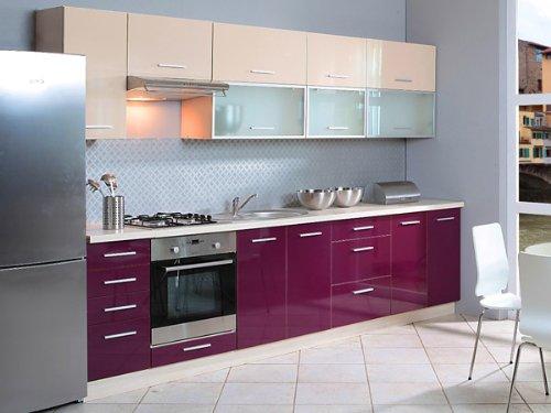 Unbekannt Küchenzeile 1623 Küchenblock Jersey/violett + vanille Hochglanz 300cm