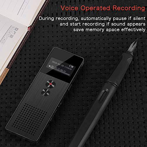 16GB Digital Voice Recorder, Mibao USB Professional Dictaphone Voice Recorder with MP3 Player, Voice Activated Recorder with Rechargeable, Stereo HD Recording Voice Recorder for Lectures-Black