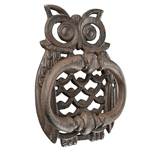 Homescapes Türklopfer antik Eule Design aus Gusseisen klassisch in braun 739g