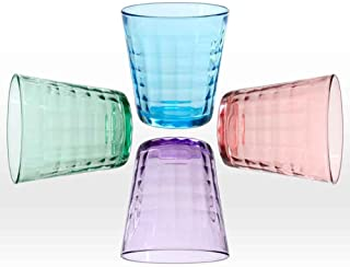 Duralex 1033SC04S1 Prisme (Set of 4), 9.625 oz, Assorted Colors glass tumbler