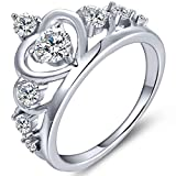 YL Crown Rings 925 Sterling Silver Heart Engagement Rings Queen AAA Cubic Zirconia Anniversary Jewelry-Size 6