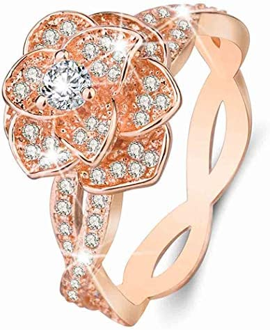 Brishow Wedding Statement Ring CZ Simulated Diamond Rings Flower Band Engagement Bands for Women product image
