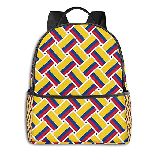 XCNGG Extra Large Colombia Flag Weave Laptop Backpack Multipurpose Backpacks with Padded Straps Lightweight Rucksack Gifts for Men Women