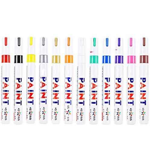 SunshineFace Rotuladores de pintura de 12 colores, para reparación de pintura de coche, álbum de bricolaje