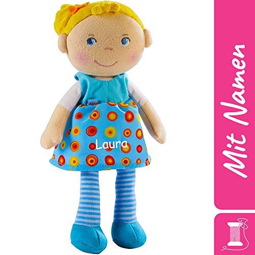 HABA Stoffpuppe Edda mit Namen Bestickt, weiche Erste Baby Puppe mit Kleidung und Haaren, ab 1 Jahr Kuschelpuppe Taufgeschenk, Anziehpuppe Kuschelpuppe 303731