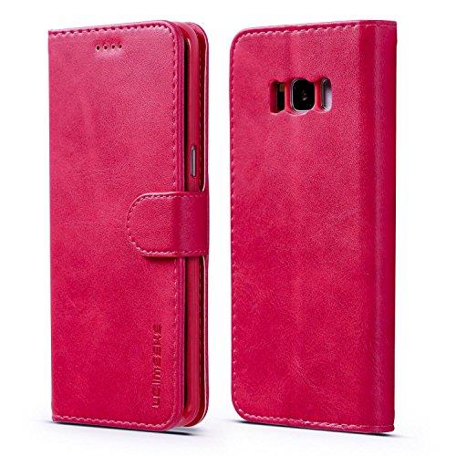 yanzi Cover Samsung Galaxy S8 Plus Cover Custodia in Pelle Samsung S8 Plus Cover a Libro Samsung S8 Plus Magnetica Portafoglio Libro Flip Libretto Rosa Rossa Samsung Galaxy S8 Plus Cover