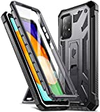 Poetic Spartan Case for Samsung Galaxy A52 4G & 5G, Built-in Screen Protector Work with Fingerprint ID, Full Body Rugged Shockproof Protective Cover Case with Kickstand, Metallic Gun Metal