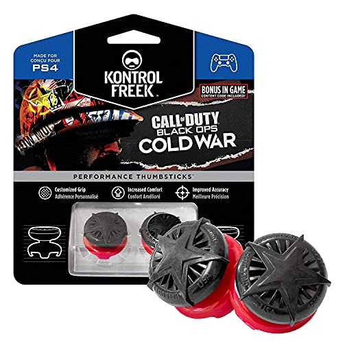 KontrolFreek Call of Duty: Black Ops Cold War Performance Thumbsticks for PlayStation 4 (PS4)   2 High-Rise, Convex   Black/Red