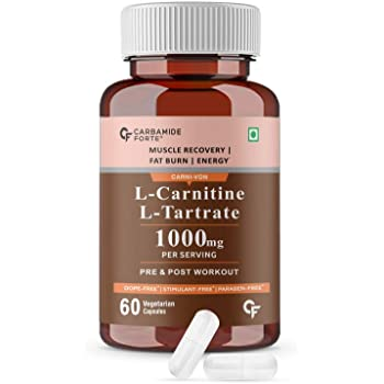CF L-Carnitine L-Tartrate 1000mg Per Serving   Weight Loss, Fat Burner, Muscle Recovery, Pre & Post Workout Supplement – 60 Veg Capsules