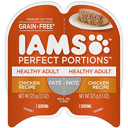 IAMS PERFECT PORTIONS Healthy Adult Grain Free Wet Cat Food Paté, Chicken Recipe, (24) 2.6 oz. Easy Peel Twin-Pack Trays