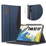 INFILAND Hülle für Samsung Galaxy Tab S7 11 2020, Business Folio Bezug Hülle Tasche für Samsung Galaxy Tab S7 11 (T870/T875) 2020, Auto Schlaf/Wach, Dunkleblau