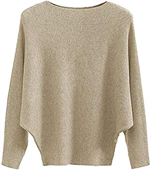 MAKARTHY Women s Batwing Sleeves Knitted Dolman Sweaters Pullovers Tops  Khaki