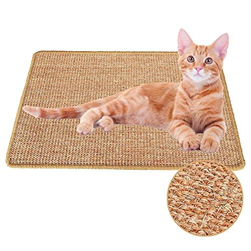 Xnuoyo Alfombrilla rascadora para Gatos de sisal Natural, Cat Scratcher Mat Cuidado de Las Patas del Gato Juguete de Cuidado Resistente al Desgaste y Antideslizante(40 * 60CM)