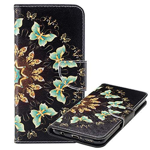 Laybomo Etui Huawei Honor 10 Housse Etui PU Cuir Pochette Portefeuille Aimant Protecteur Flip Cover Doux TPU Silicone Coque pour Huawei Honor 10 avec Slot pour Carte, Papillon Floral Imprimé