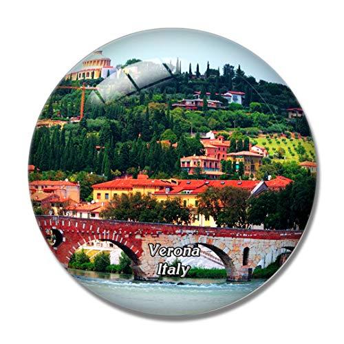 Imán para nevera con vista horizontal de Italia Verona en 3D, imán para pizarra blanca, cristal de recuerdo