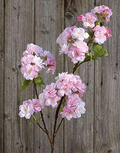 artplants.de Künstlicher Blütenzweig Kirsche MATSUDA mit Blüten, weiß-rosa, 80cm - Kirschblütenzweig Deko/Kunstblumen Zweig