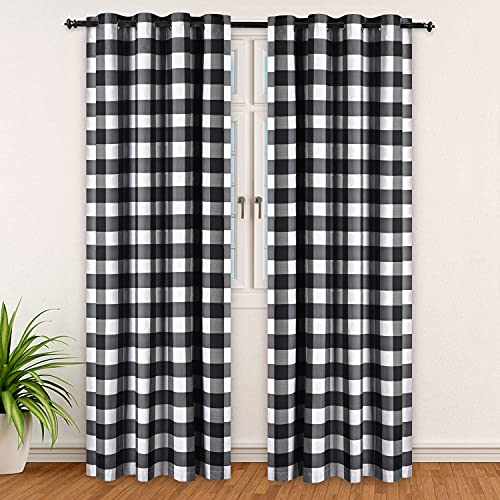 Refrze Buffalo Plaid Curtains Black and White, Blackout Buffalo Check Curtains, Farmhouse Country Curtains for Living Room Bedroom, Set of 2 Panels, 52 x 84 Inches Long