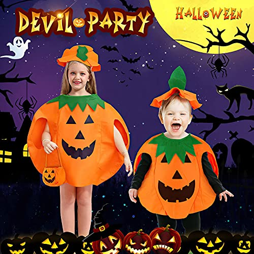 yumcute Halloween Pumpkin Costumes – Cute Pumpkin Party Costume Clothes, Halloween Fancy Dress,Cosplay Outfits with Hat for Kids Adult (47*57cm)