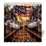 Violetpos Duschvorhang Wolf Eisenbahn Amerikanische Flagge 180 x 180 cm Polyesterfaser Wasserdicht Duschvorhang mit 12 Duschvorhangringen Design