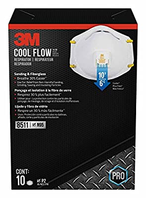 3M 8511 Respirator, N95, Cool Flow Valve (10-Pack) by 3M