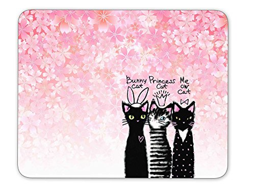 Qien BaiSei Spring Pink Cherry Blossoms Background and Cute Cats Mouse pad--Non-Slip Rubber Mousepad---Applies to Games,Home, School,Office Mouse pad