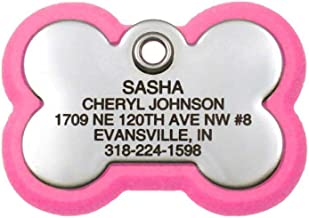 LuckyPet Pet ID Tag, Bone Frame Tag, Rugged Dog Tags with Colorful Frame, Custom Engraved