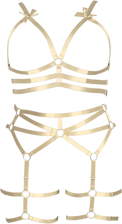Plus Size Plump Garter Belt Set Full Body Harness for Women Gothic Bra Punk Large Size Halloween Festival Rave Lingerie cage