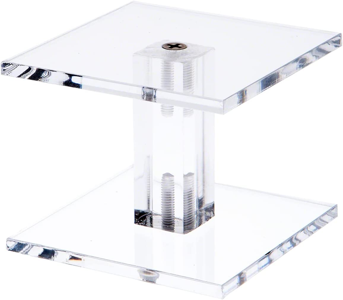 unisex Plymor Clear Acrylic Square Barbell 2.25 Display Fashion Riser Pedestal