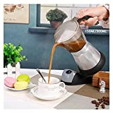 Kwent cafetera 304 Géiser eléctrico de Acero Inoxidable Moka Cafetera Mocha Moka Pot Filtro Filtro PERCOLADOR teteras para te (Color : Aluminum 300ML)