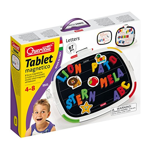 Quercetti - Tablet with Magentic Letters - Educational Toy for Learning Spelling & Writing - for Kids Ages 4 Years & Up