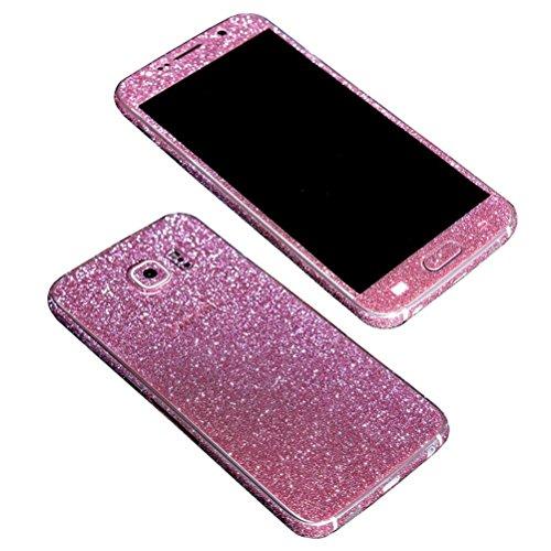 TheSmartGuard Glitzerfolie kompatibel für Samsung Galaxy S6 Folie Schutz Glitzer Glitter Bling Bling im funkelnden Pink