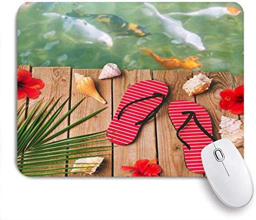 Gaming Mouse Pad rutschfeste Gummibasis, Koi Summer Vacation Swim Flip Flop Conch Rote Blume, für Computer Laptop Office Desk