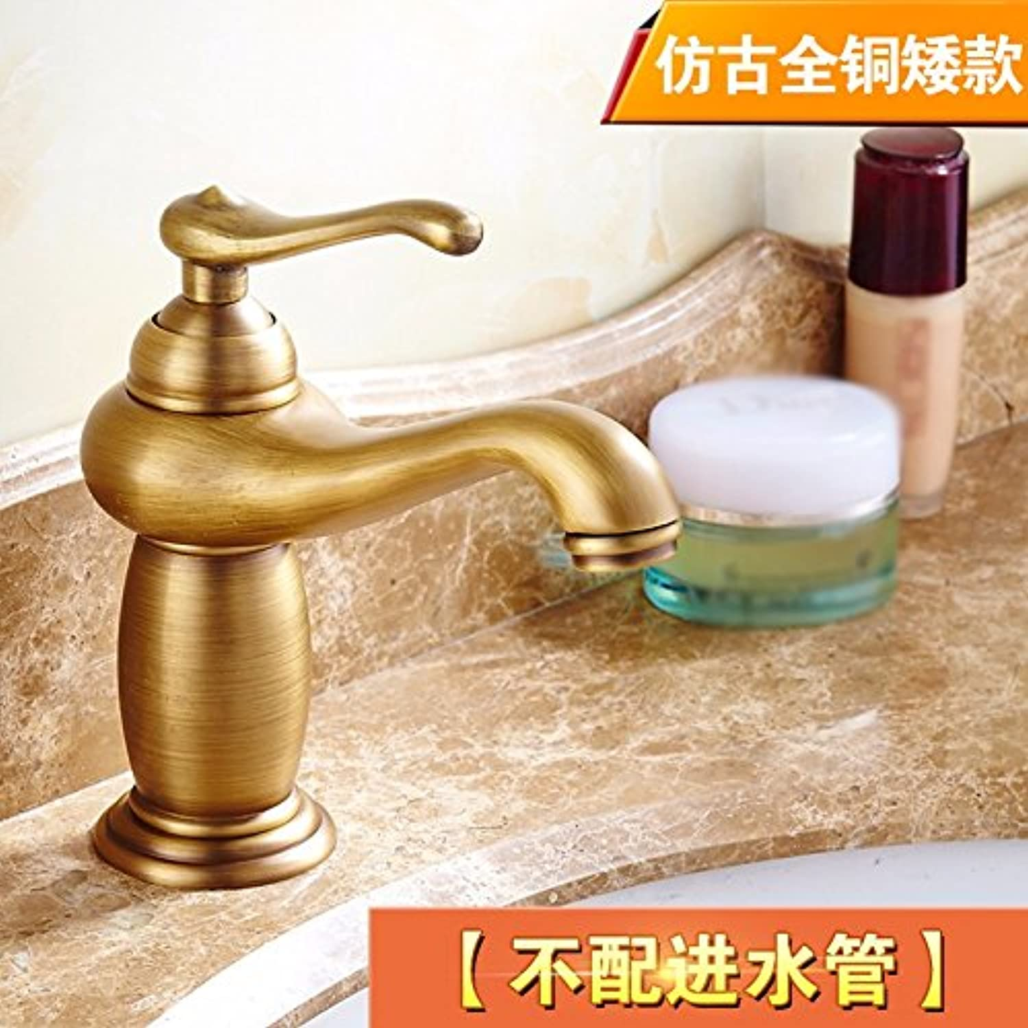 LHbox Basin Mixer Tap Bathroom Sink Faucet Flagship Store antique faucet full copper gold European country retro hot and cold single hole basin wash basin mixer