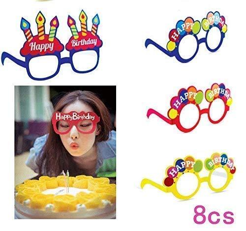 Gwill Gafas con forma de pastel de cumpleaños de crema dulce, gafas de sol, regalo de cumpleaños, paquete de 8 colores al azar