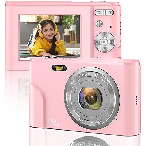 Cámara Digital 1080P FHD Mini cámara de Video 36MP Pantalla LCD Cámara compacta Recargable para Estudiantes Cámara de Bolsillo con Zoom Digital 16x Cámara de Video de Youtube para niños\