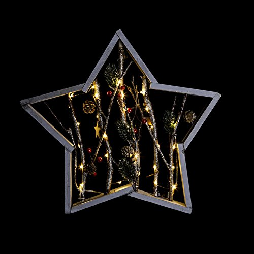 Féérie Lights & Christmas Etoile Lumineuse Nature Noël - 40,5 x 5 x 39,5 cm - Marron