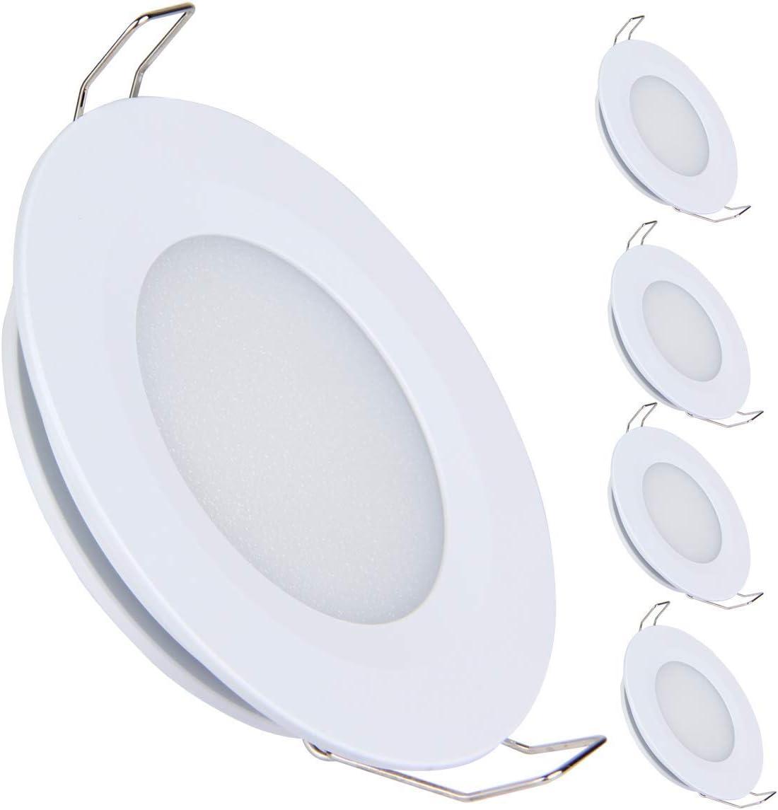 acegoo Juego de 4 lámparas LED empotrables de techo de 12V, 3W, 3200K, para caravana, barco, caravana, coche, aluminio, 240 lúmenes, blanco cálido (blanco)