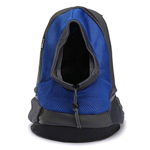 Yihya Portatile Pet Carrier Bag Sacchetto di Spalle Mesh Bag Piccoli Cane Cani Gatti Puppy All'aperto Viaggiare Borsa Backpack per Pet testa Out - Blu / Size M: 40*35*17