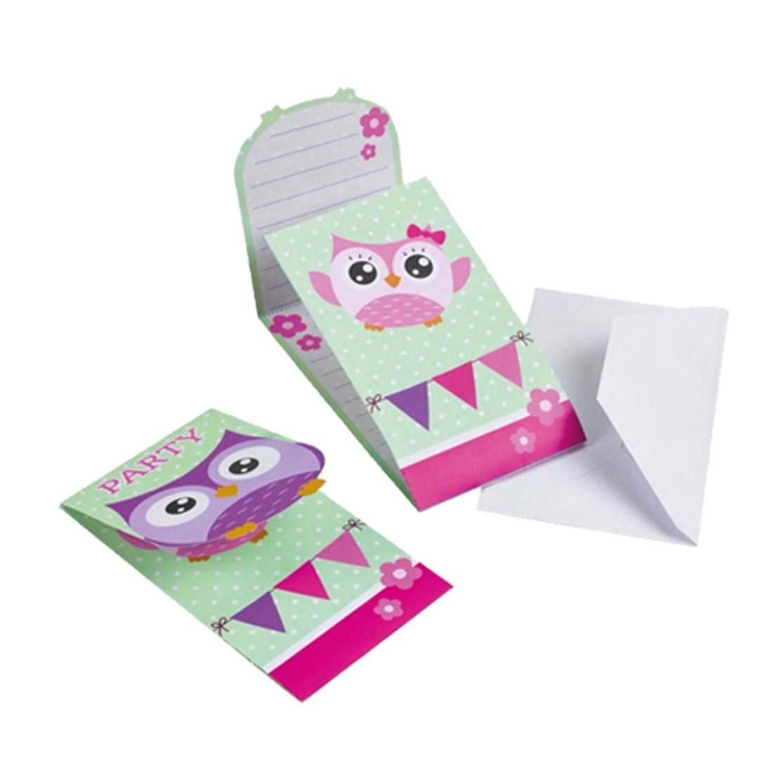 8 tarjetas de invitación con sobres niñas búho Convites fiesta temática infantil lechuza Pack de invitación Pack de invitación cumpleaños niña Notificación de fiesta de cumple chicas pequeñas: Amazon.es: Juguetes y juegos