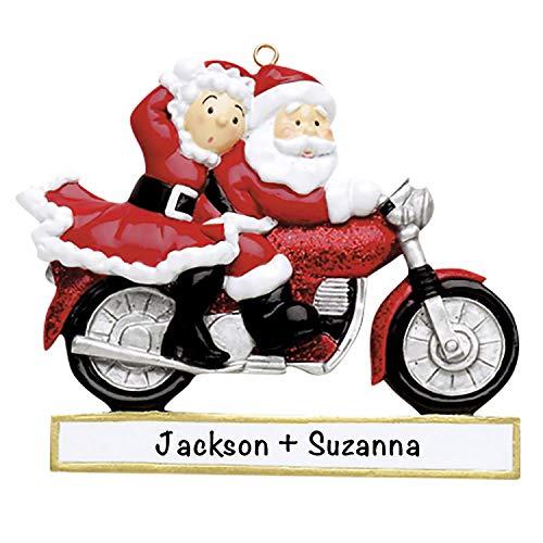 Santa Couple Motorcycle Christmas 2021 Ornament – Charming Personalized Christmas Ornaments for Couples –, Lightweight Custom Christmas Ornament – Polyresin Couple Ornament 2021