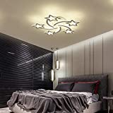 STCH Modern Dimmable LED Ceiling Lights, Meteor-Shaped Acrylic Chandeliers,LED Flush Mount Lighting Fixture for Kids Room Bedroom Living Room Dining Room Kitchen (60W/3000-6000K)