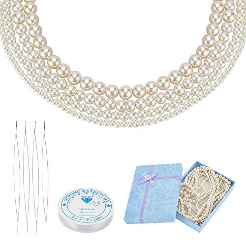 PandaHall 4 hilos de perlas de cristal con caja de regalo para hacer joyas y 4 agujas de cuentas de 12,5 m, cuerda de cristal de 4 mm, 6 mm, 8 mm, 10 mm