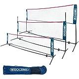 Boulder Portable Badminton Net Set - for Tennis, Soccer Tennis, Pickleball, Kids Volleyball - Easy Setup Nylon Sports Net with Poles (Blue/Red, 10 FT)