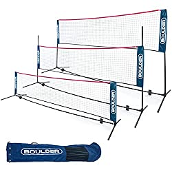 powerful Boulder Portable Badminton Net-For Tennis, Soccer Tennis, Pickleball, Children's Volleyball-Easy Adjustable Nylon Sports Net with Bar (Blue / Red, 17ft)
