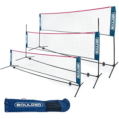 Boulder Portable Badminton Net Set - for Tennis, Soccer Tennis, Pickleball, Kids Volleyball - Easy Setup Nylon Sports Net with Poles