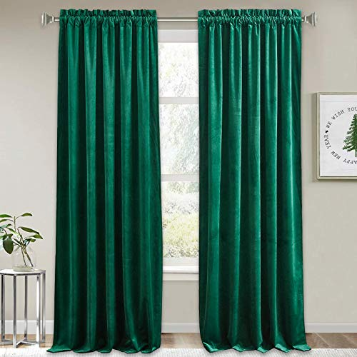 RYB HOME Green Velvet Curtains - Extra Long Curtains for Sliding Glass Door Home Decor Room Darkening Curtains for Dinning Room Home Office Photography Backdrop, Green, 52 x 108, 2 Pcs