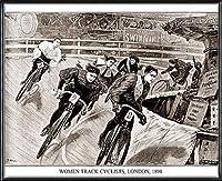 ポスター アーティスト不明 Women Track Cyclists 1898 額装品 アルミ製ハイグレードフレーム(ブラック)